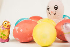 Easter Bunny with Easter eggs Stock Photography