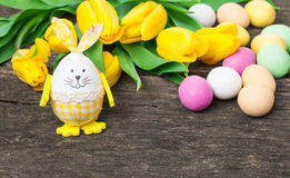 Easter bunny, easter eggs, wood background Royalty Free Stock Photo