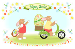 Easter bunny while easter ride Royalty Free Stock Images