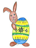 Easter bunny with egg. Easter bunny with easter egg, childs drawing stock illustration