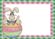 Easter Bunny with Egg Background. This is designed with a cute easter bunny sitting in a easter egg. Then two different colored plaid backgrounds to add charm vector illustration