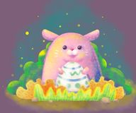 Easter bunny with egg with background Stock Photo