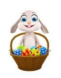 Easter bunny with Egg Basket. 3d illustration of Easter bunny with Egg Basket Royalty Free Stock Photography