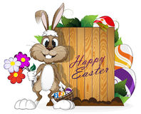 Easter bunny with egg basket Royalty Free Stock Images