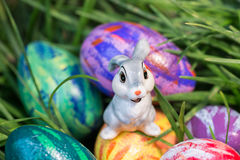 Easter bunny on the egg close-up Stock Photo