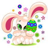 Easter Bunny with Egg Cute Cartoon Character Stock Images