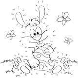 Easter Bunny with egg. Dot to dot game royalty free illustration