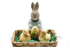 Easter bunny with egg and ducks Stock Image