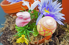 Easter bunny and egg in a flowerpot. Pink sparkling easter bunny and egg in a flowerpot, artificial Royalty Free Stock Photos