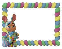Easter Bunny Egg Frame. Image and illustration composition of Ceramic Bunny boy in patchwork costume standing on picture frame. (Decoration also created by me Royalty Free Stock Image