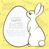 Easter bunny and egg holiday template postcard. Stock Photography