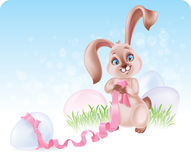 Easter Bunny at the Egg hunt Stock Photo