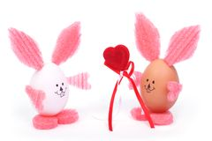 Easter bunny egg with red heart Stock Image