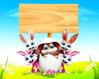 Easter bunny in the egg with sign. 3d rendered illustration of Easter bunny in the egg with sign Stock Photo
