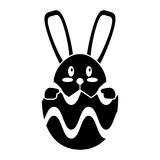 Easter bunny in egg surprise pictogram Royalty Free Stock Image