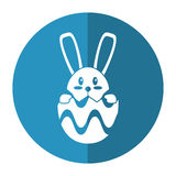 Easter bunny in egg surprise shadow Royalty Free Stock Photography