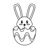 Easter bunny in egg surprise thin line Royalty Free Stock Image