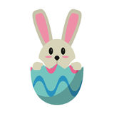 Easter bunny in egg surprise Stock Photo