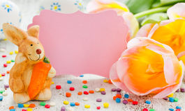 Easter bunny, egg, tulips, invitation card composition Royalty Free Stock Photos