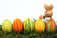 Easter bunny and eggs. On white background royalty free stock photos