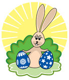Easter Bunny and eggs. Easter bunny with painted eggs ready for Easter Holiday Royalty Free Stock Image