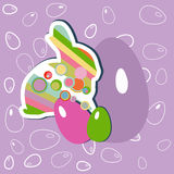 Easter bunny and eggs Stock Photos