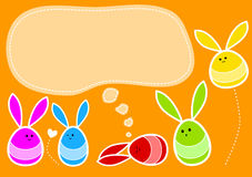 Easter Bunny Eggs. Funny bunny Easter eggs and dream balloon to write text Royalty Free Stock Photos