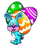 Easter bunny with eggs. Funny Easter Bunny carrying three colorful eggs Vector Illustration