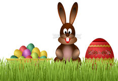 Easter bunny and eggs. stock photo