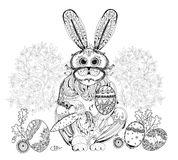 Easter bunny and eggs background, Sketch Royalty Free Stock Images