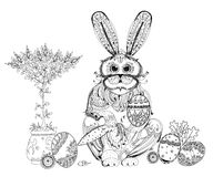 Easter bunny and eggs background, Sketch collection Royalty Free Stock Images