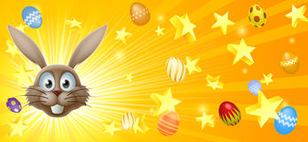Easter bunny and eggs banner Stock Images