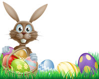 Easter bunny and eggs basket Stock Image
