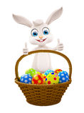 Easter Bunny with eggs basket Royalty Free Stock Photos