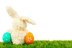 Easter bunny and eggs border Stock Image