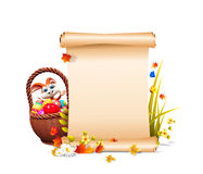 Easter  bunny  eggs bucket & sign Royalty Free Stock Image