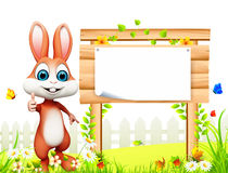 Easter  bunny  eggs bucket & wooden sign Royalty Free Stock Image