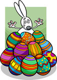 Easter bunny and eggs cartoon illustration Royalty Free Stock Image