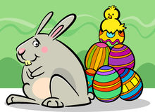 Easter bunny and eggs cartoon illustration Royalty Free Stock Photo