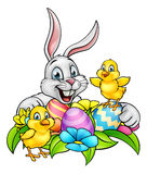 Easter Bunny Eggs and Chicks Royalty Free Stock Photography