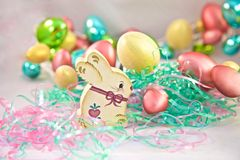 Easter rabbit bunnies eggs Royalty Free Stock Photo