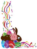 Easter Bunny and Eggs Confetti Border Illustration Royalty Free Stock Image