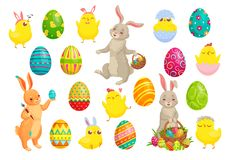 Easter bunny eggs. Cute rabbit, spring chicks and colorful egg vector illustration set. Easter bunny eggs. Cute rabbit, spring chicks and colorful egg. Bunnies vector illustration