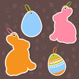 Easter bunny and eggs discount sale stickers Royalty Free Stock Images