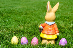 Easter bunny with eggs in field Stock Photography