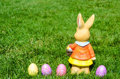 Easter bunny with eggs in field Stock Photos