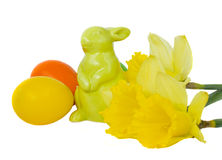 Easter  bunny with eggs and flower Stock Images