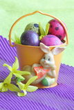 Easter bunny , eggs and flower - Stock photos royalty free stock photos