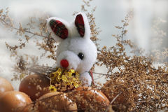 Easter bunny and eggs among flowers Royalty Free Stock Photos