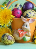 Easter bunny , eggs and flowers - Stock photos Stock Images